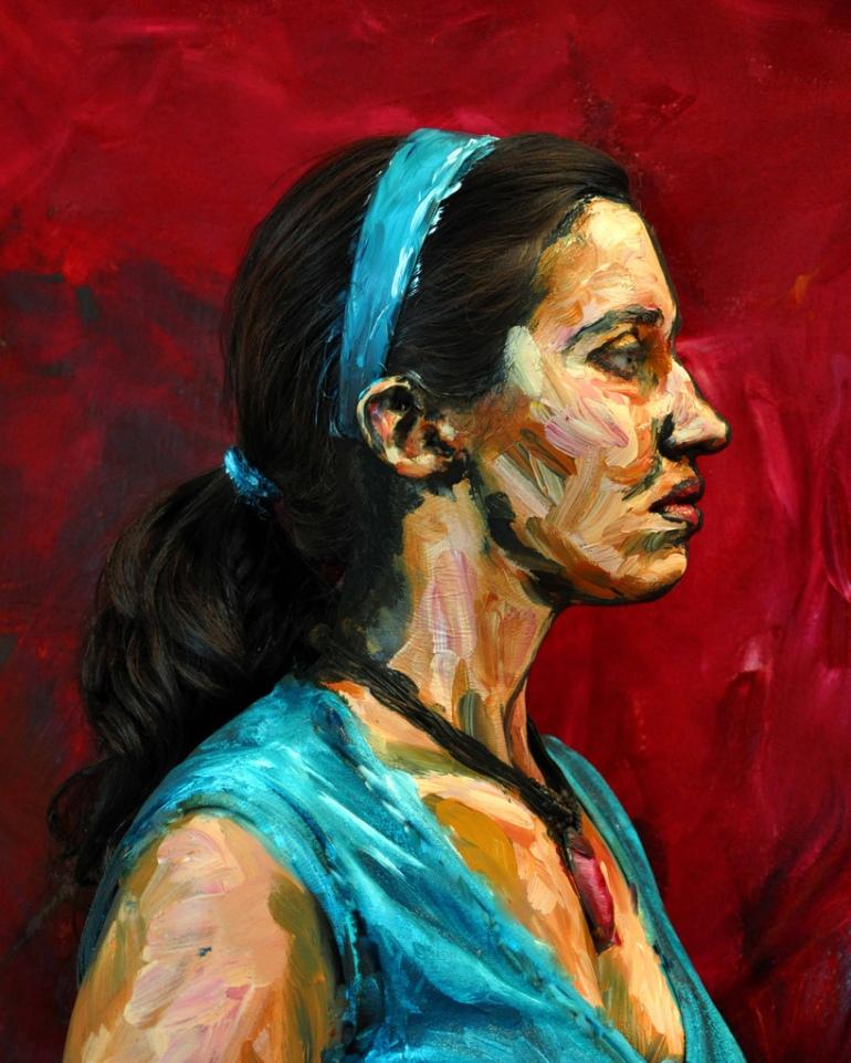 Alexa Meade living paintings lebende kunstwerke malerei Galileo blue girl side