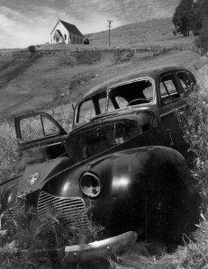 Church and Abandoned Automobile, Tiburon, California, 1957