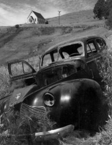 Church and Abandoned Automobile, Tiburon, California, 1957