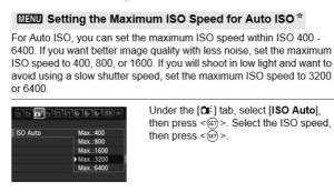 Setting Automatic Maximum ISO